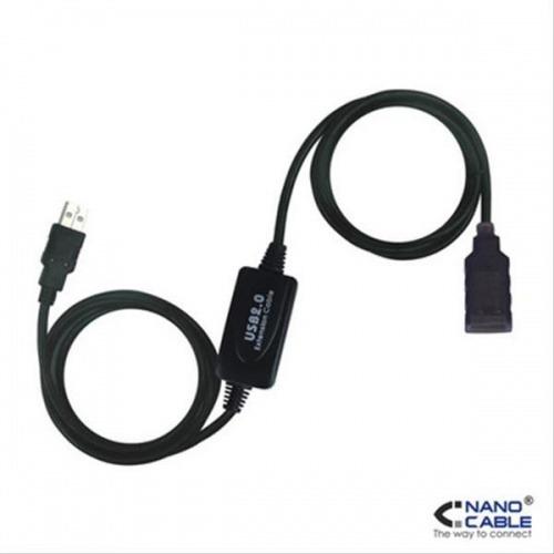 CABLE USB 2.0 PROLONGADOR CON AMPLIFICADOR A/M-A/H 10M NEGRO NANOCABLE