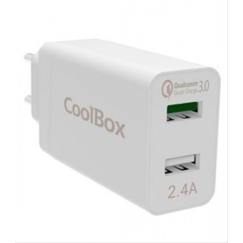 CARGADOR DE PARED 2XUSB COOLBOX QUALCOMM 3.0 BLANCO