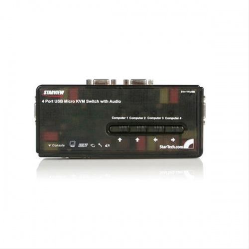 KVM 4 PUERTOS USB CON CABLES Y AUDIO