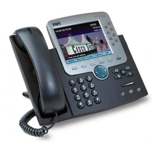 CISCO IP PHONE 7970 SCCP, SIP - 8 Líneas - Pantalla Color Táctil - 2 puertos Ethernet 10/100 PoE - Toma Auriculares - Soporte Po