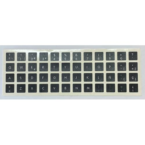 Para APPLE Español Negras Pegatinas universales para Conversión de teclado Internacional a Castellano. Diseño de etiqueta especí