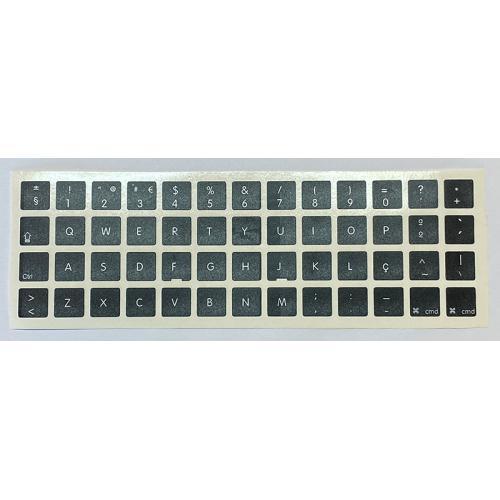 Para APPLE Portugés Negras Pegatinas universales para Conversión de teclado Internacional a Portugués. Diseño de etiqueta especí