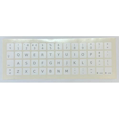 Para APPLE Portugés Blancas Pegatinas universales para Conversión de teclado Internacional a Portugués. Diseño de etiqueta espec