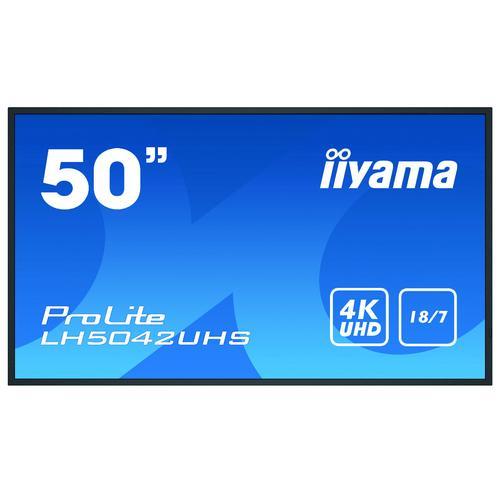 "iiyama LH5042UHS-B3 pantalla de señalización Pizarra de caballete digital 125,7 cm (49.5"") VA 4K Ultra HD Negro Android 8.0 - Im"