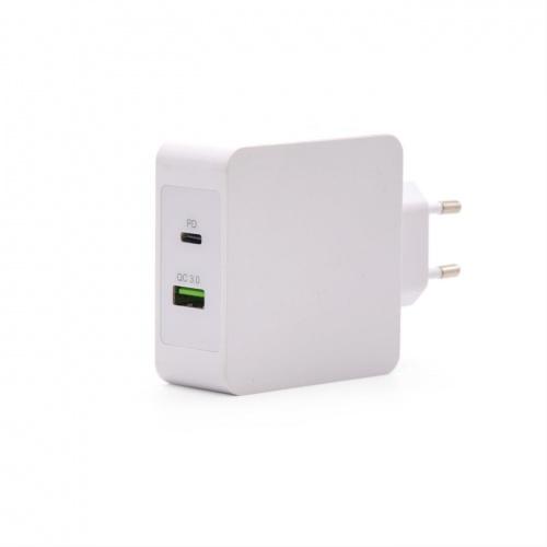 CARGADOR DE PARED USB-C PD + USB A TOOQ TQWC-2S03WT QC3.0, 48W BLANCO