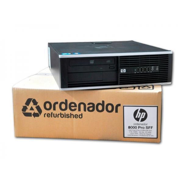 HP 8000 Elite SFF Intel Core 2 Duo E8400 3 GHz. · 4 Gb. DDR3 RAM · 250 Gb. SATA · DVD · Windows 7 Pro - Imagen 1