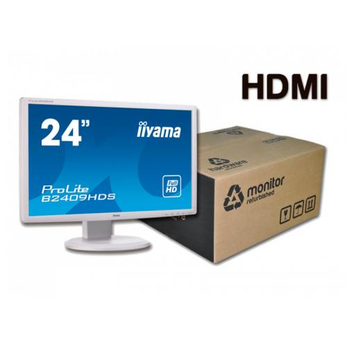 IIYAMA B2409HDS Blanco TFT 24 '' FullHD 16:9 · Resolución 1920x1080 · Respuesta 2 ms · Contraste 1000:1 · Brillo 300 cd/m2 · Á